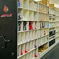 Football Equipment Storage on Mobile Shelving at University of Louisville