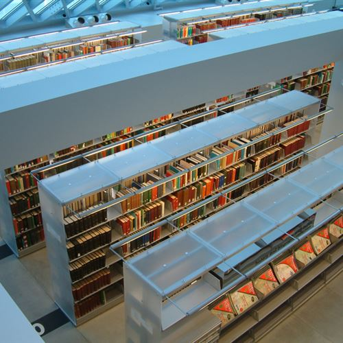 Cantilever library shelving at Seattle Public Library