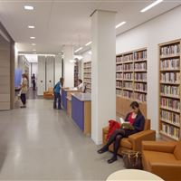 Berkeley Reception area with Library book shelves