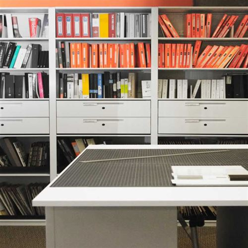 Pull out Drawers and Metal Shelves in Office Library in Toronto Canada