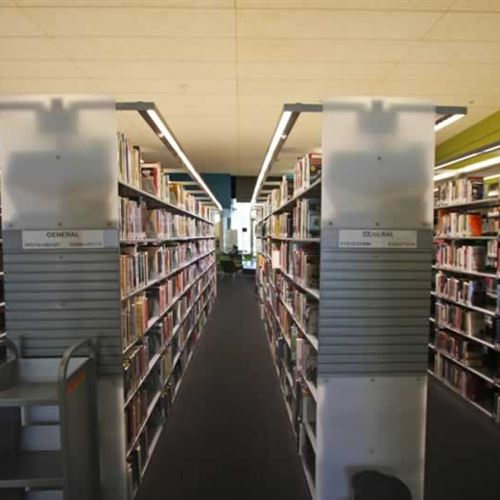 Library Shelving with Custom Acrylic End Panels