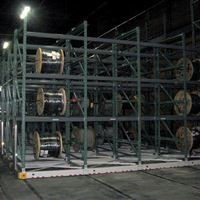Cable Reels on Industrial Mobile Shelving at Puget Sound Naval Shipyard in Bremerton, WA