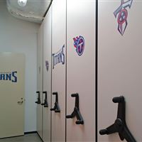 Football Gear Storage on Mobile Shelving at the Tennessee Titans