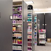 Retail Sample Storage on Shelving and High Density Mobile at Bath and Body Works