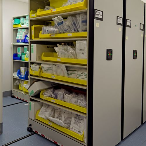 Powered High Density Mobile Shelving with Plastic Bins