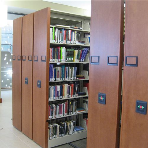 Wood End Panels on High Density Library Shelving