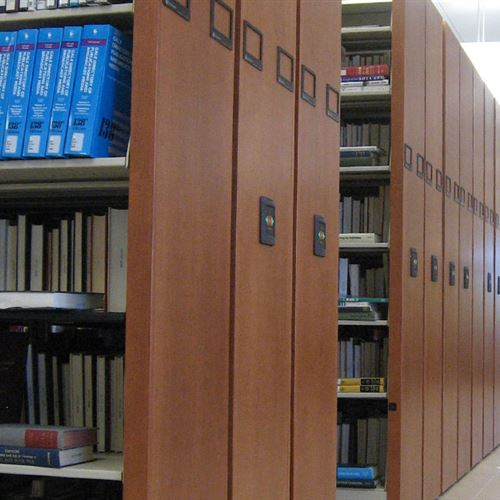 Close up of Compact Library Shelves at Karen H. Huntsman Library