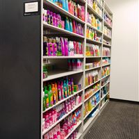 Beauty Products stored on Metal 4 Post Shelving at Bath and Body Works