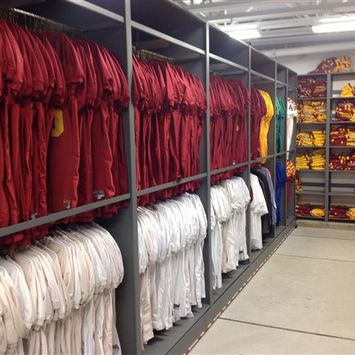 Athletic equipment storage on mobile shelving at Iowa State Universtiy