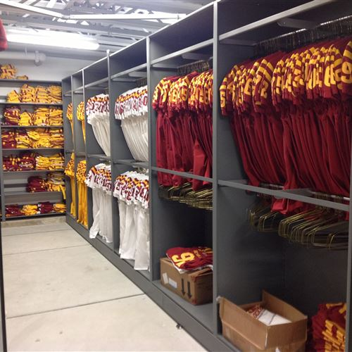 Jersey's Hanging on Garment Racks in Mobile Shelving System