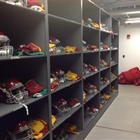 Football Helmet Storage on Powered Mobile at Iowa State University