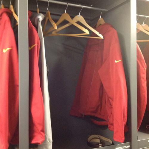 Jackets hanging on oblique Garment Racks