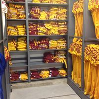 Football Equipment Storage on Mobile Shelving