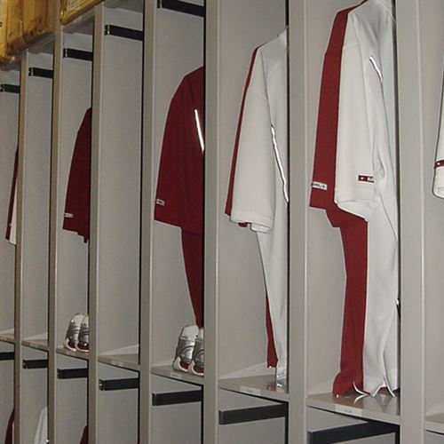 University of Alabama Athletic Storage Equipment on mobile shelving