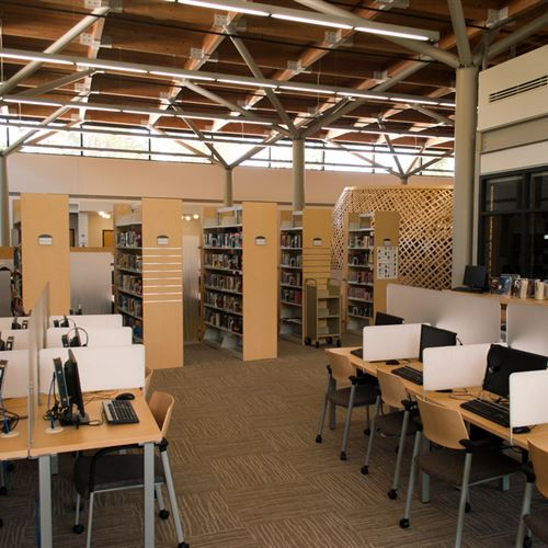 Computer workstations surrounded by cantilever library shelving