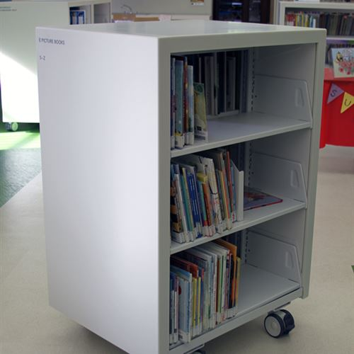 Custom cantilever library shelving on wheels