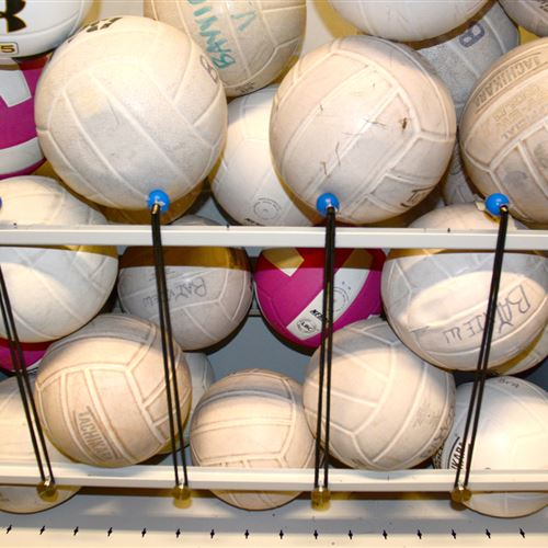 Sports ball storage on mobile shelving