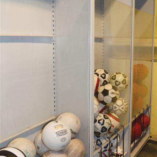 Athletic Equipment Storage of various sports balls