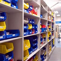 Bin Storage on 4-Post Shelving
