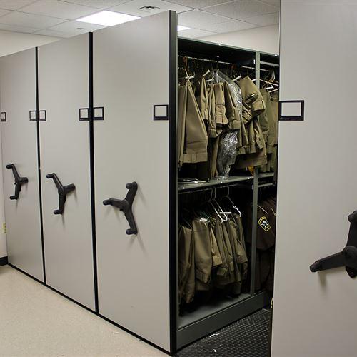 Uniform Storage for Sheriff's Department Using Mobile Shelving
