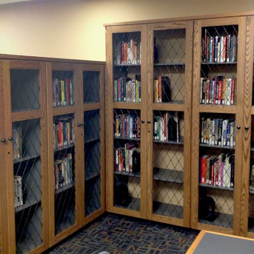 Library shelving systems enclosed in wooden cabinet