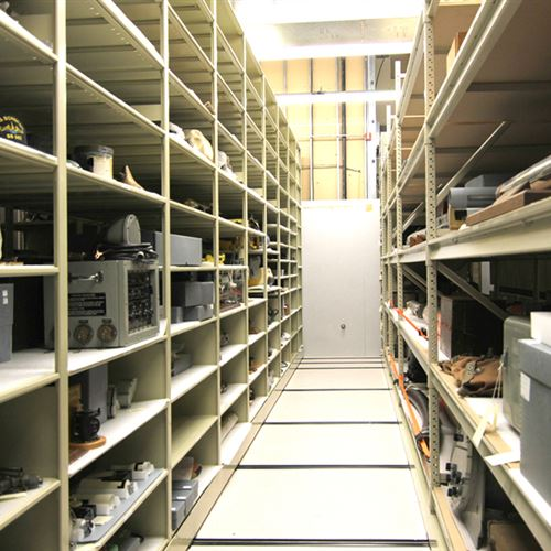 Various Artifacts stored on Spacesaver Compact Shelving