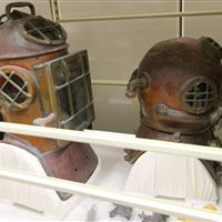 Historical Diving Equipment stored on High Density Mobile Shelving