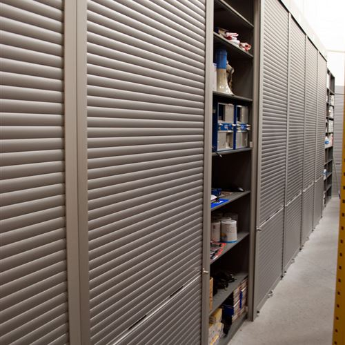 Public Safety Storage Shelving with Rolling Doors