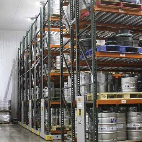 ActivRAC Powered Mobile Pallet Racking Stores Kegs