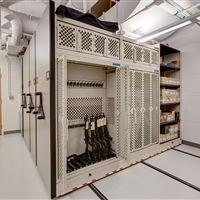 Secure Weapon Storage on Weapon Racks on Compact Shelving