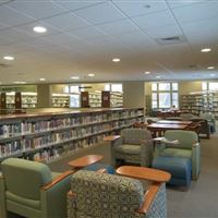 Library Shelving and Lounge area at the Pewaukee Public Library
