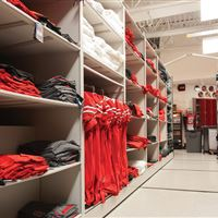 Ohio State University Buckeyes Football Equipment Storage on mobile shelving