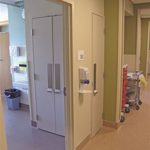 Closed CoreStor Unit Viewed from Patient Room and Hospital Corridor