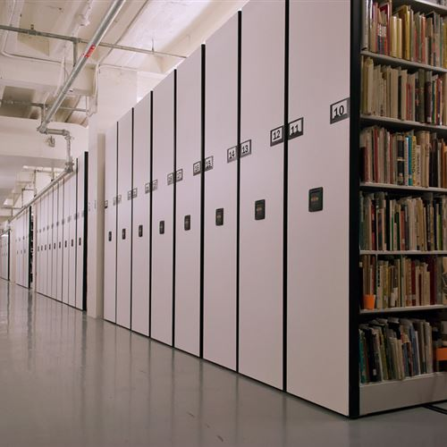 Library Storage System on mobile shelving at Ohio State University