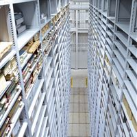 Archival Storage on mobile shelving at Western Michigan University