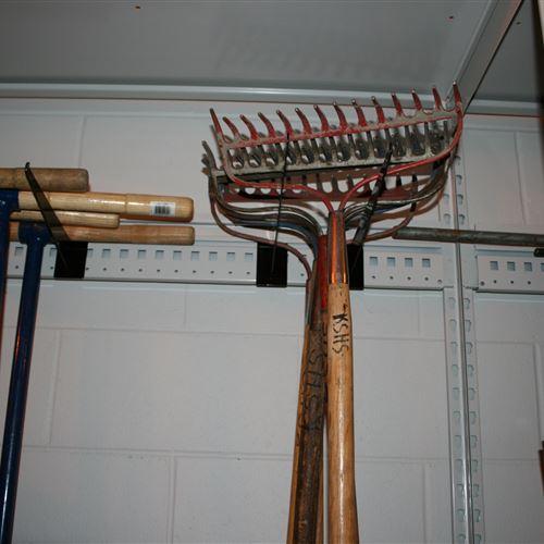 Garden Tools Stored on EZ Rail