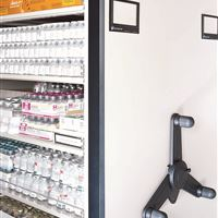 Pharmaceutical  Supplies Stored on Mechanical Assist Mobile Shelving