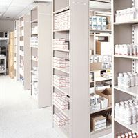 4 Post static shelving for medical supplies