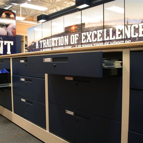 "Door and Drawers on 36"" high density mobile athletic system"