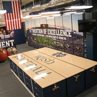 University of Notre Dame sports equipment storage on high density storage