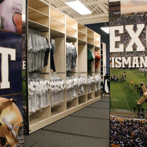 Football equipment storage on Spacesaver Mobile Shelving