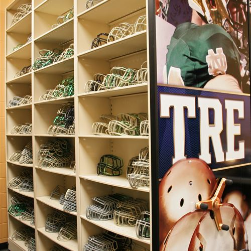 Delicieux Football Helmet Storage In High Density Mobile Shelving