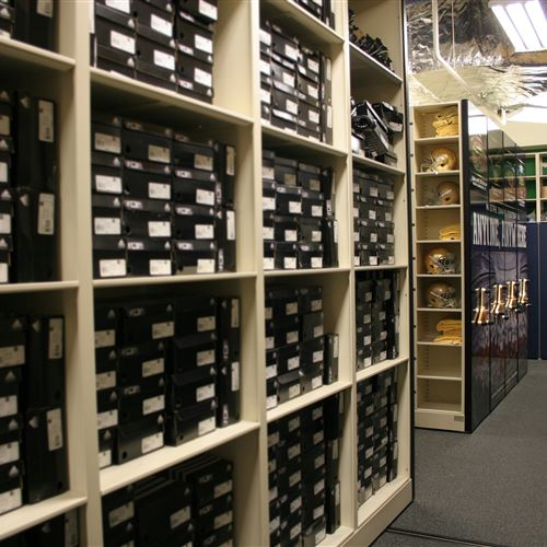 Athletic Shoe Storage On High Density Mobile Shelving