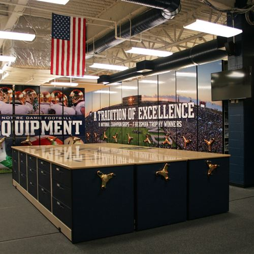 Athletic equipment storage at the University of Notre Dame