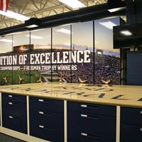 Custom Graphics at the University of Notre Dame Football Equipment Storage Room
