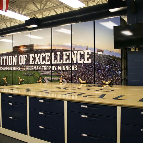 Custom Graphics at the University of Notre Dame Football Equipment Storage Room